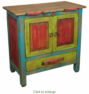 Small Multi Colored Painted Wood Rustic Buffet