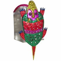 Small Painted Tin Armadillo Wall Candle Sconce