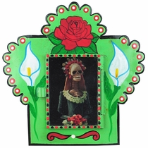 Small Painted Tin Nicho with Catrina Print