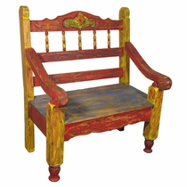 Small Painted Wood Carved Spindle Bench