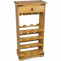 Mexican Pine Wine Rack with Wine Glass Holders and Drawer