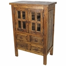 Small Rustic Old Wood Cabinet - 2 Paned Glass Doors and 4 Drawers