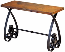 Southern Iron Base Console Table with Copper Top