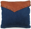 Southwest Denim and Leather Fringe Pillows - Set of 2 - 15""