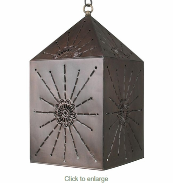 Square Rays Aged Tin Hanging Light Fixture