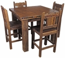 Square Rustic Wood Counter Height Bistro Table with 4 Stools