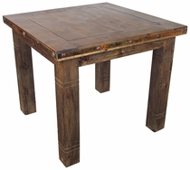 Square Rustic Wood Counter Height Bistro Table with Iron