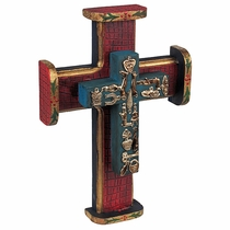 Standing Painted Wood Mexican Folk Art Cross with Milagros