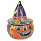 Talavera Jack-O-Lantern Pumpkin with Witch Hat