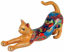 Talavera Stretching Cat