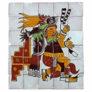 Hand Painted Mexican Tile Mural - Aztec Kitchen Goddess