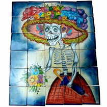 Talavera Wall Mural - Catrina Day of the Dead