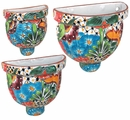 Talavera Wall Planter Pots - Set of 3