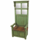 Tall Back Entry Way Throne Chair with Storage, Coat Hooks and Mirror