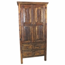 Tall Distressed Wood Armoire - 2 Doors and 4 Drawers