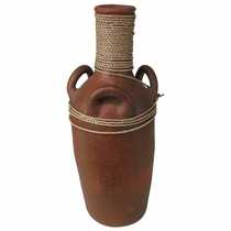 Tall Terra Cotta Vase with Rope