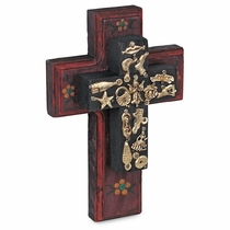 Tiered Painted Wood Mexican Folk Art Cross with Milagros