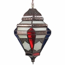 Tin Moroccan Pendant Light with Frosted and Multi-Colored Glass