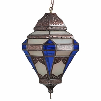 Tin Spanish Colonial Pendant Light with Frosted and Blue Glass