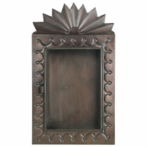 Sunburst Mexican Tin Shadow Box - Hinged Glass Door