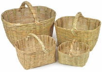 Traditional Woven Cane Baskets with Handles - Set of 4