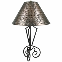 Tri Base Wrought Iron Table Lamp with Gusanito Tin Shade