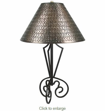 tri base wrought iron table lamp with gusanito tin shade. Black Bedroom Furniture Sets. Home Design Ideas