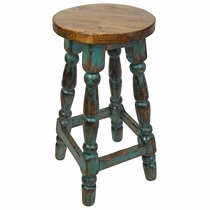 Turned Leg Rustic Painted Wood Bar Stool - Green