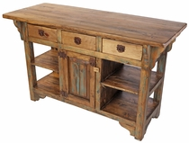 Turquoise Accent Turned Leg Rustic Wood Kitchen Island with Drawers