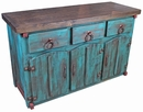 Turquoise Mexican Painted Wood Buffet with Thick Doors