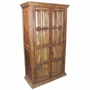 Two Door Rustic Wood Armoire with Shelves