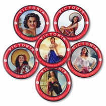 Victoria Mexican Beer Coasters with Vinatge Advertising Models - Set of 6
