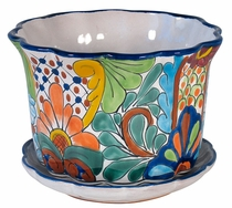 Wavy Talavera Flower Pot with Attached Base