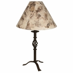 Wrought Iron Small Twisted Table Lamp with Bark Paper Shade
