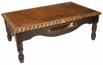 Western Coffee Table with Cowhide Top