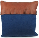 Western Denim and Leather Fringe Pillows - Set of 2 - 16""