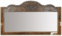 Western Lone Star Mirror with Cowhide and Carved Wood Frame