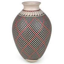 White Clay Mata Ortiz Vase with Geometric Pattern and Feathers