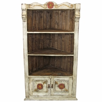White Rustic Wood Corner Cabinet with Carved Flower Designs