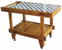 Wood Serving Cart  with Tile Top