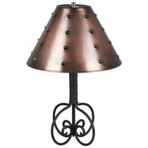 Wrapped Iron Table Lamp with Plain Tin Marble Shade