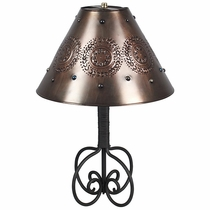 Wrapped Iron Table Lamp with Punched Tin Marble Shade