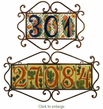 Wrought Iron Address Tile Holders - Horizontal
