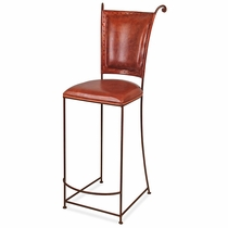 Wrought Iron Bar Stool - Leather Seat and Back