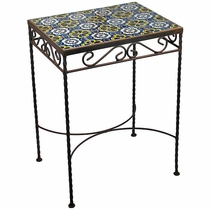Wrought Iron - Talavera Tile Side Table - 12 Tiles - A