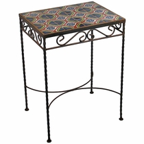 Wrought Iron - Talavera Tile Side Table - 12 Tiles - C