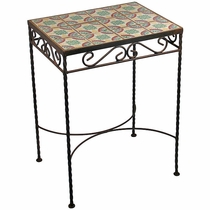 Wrought Iron - Talavera Tile Side Table - 12 Tiles - D