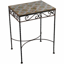 Wrought Iron - Talavera Tile Side Table - 12 Tiles - E