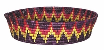 X-Large Round Mexican Bread Basket - Multi-Color Woven Palm