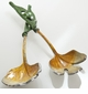 Abigails Brass with Enamel Salad Serving Set